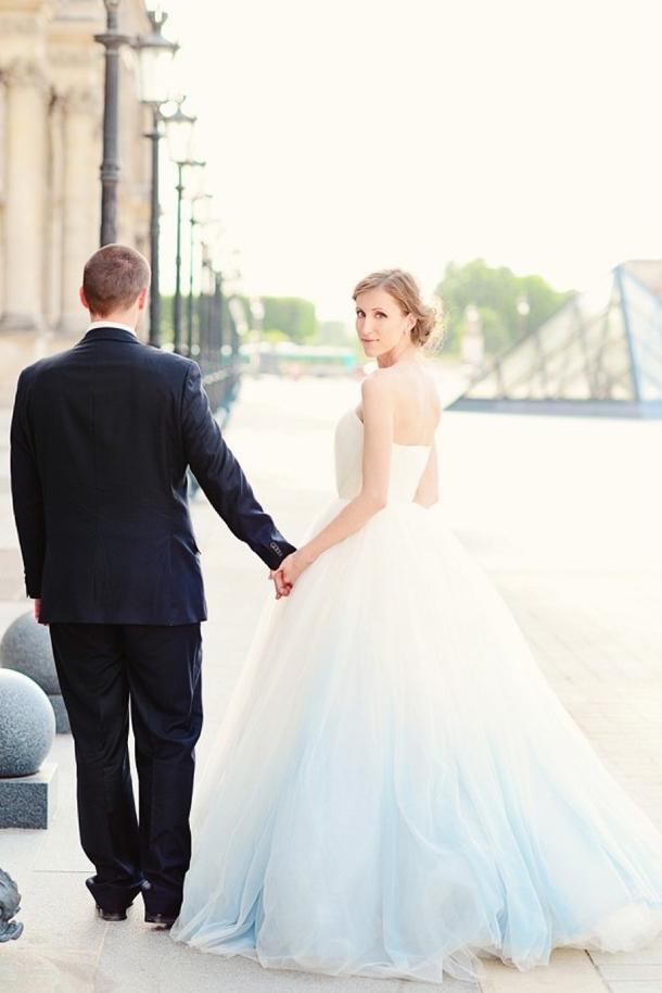 blue ombre wedding dress