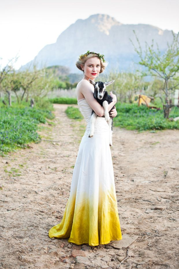 yellow ombre wedding dress