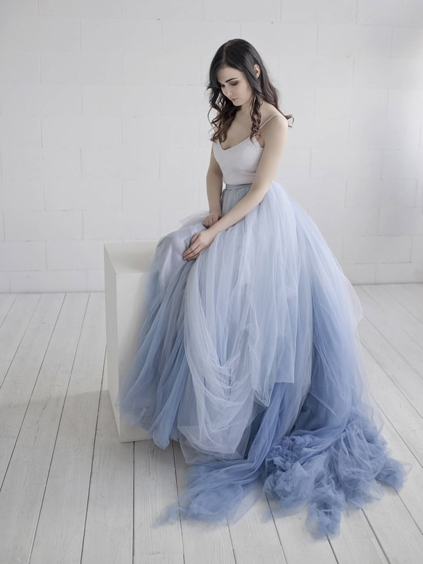 dusty blue ombre wedding dress