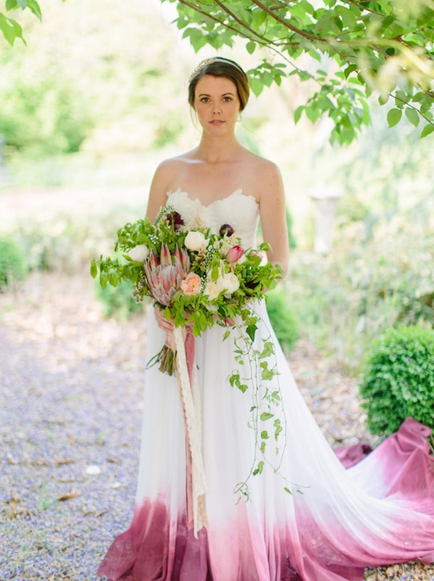 Dip dye ombre wedding dresses for Pink ombre wedding dress