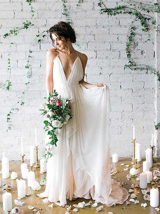 peach ombre wedding dress
