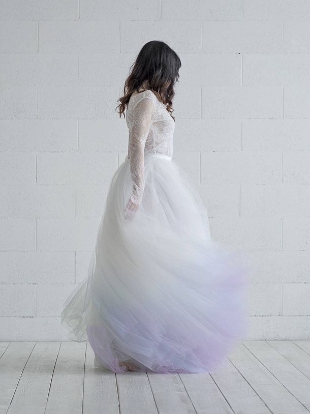 purple unicorn ombre wedding dress