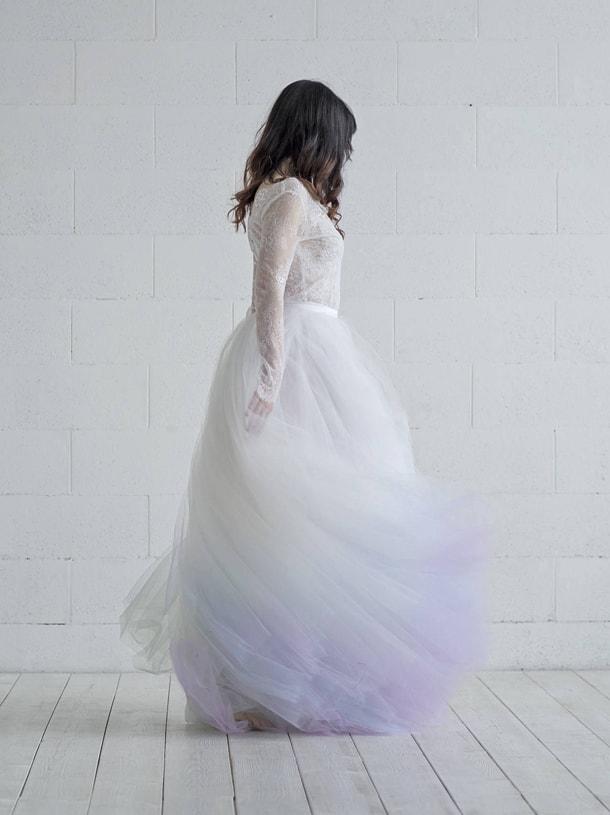 purple unicorn ombre wedding dress
