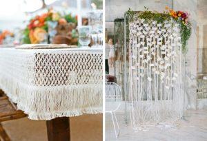 wedding macrame tablecloth wedding and escort card display