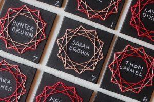 string art escort cards