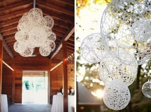 string globe installation wedding décor