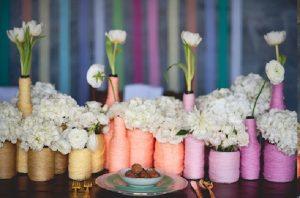 yarn wrapped vases wedding décor