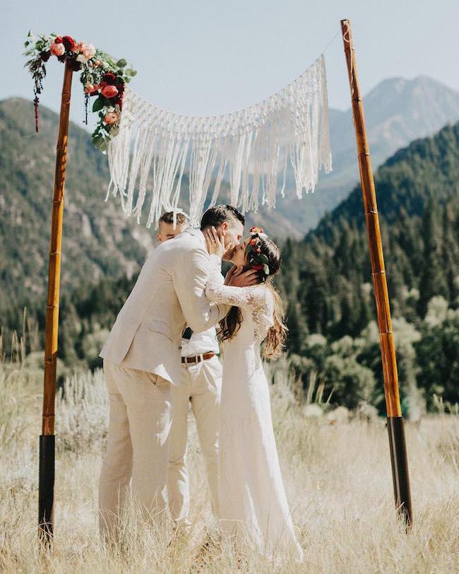 macrame boho wedding ceremony backdrop