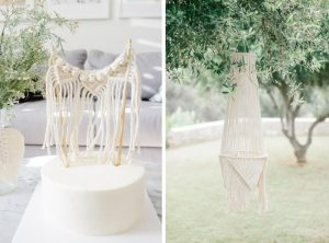 macrame cake topper and lantern