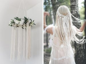 macrame wreath and bridal hairpiece