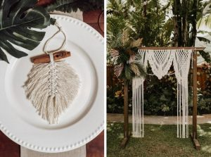 macrame wedding favor and ceremony arch