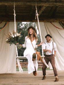 boho wedding macrame swing