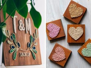 string art wedding sign and favors