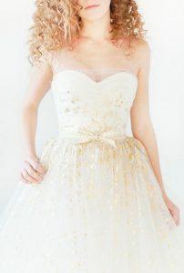 gold leaf wedding dress