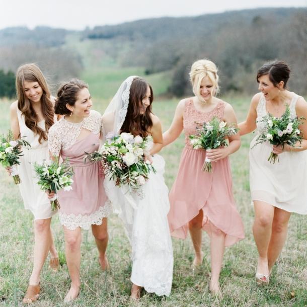 7e0265cb7c0 Mismatched Blush Bridesmaid Dresses