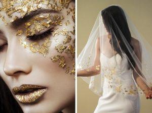 gold leaf bridal makeup