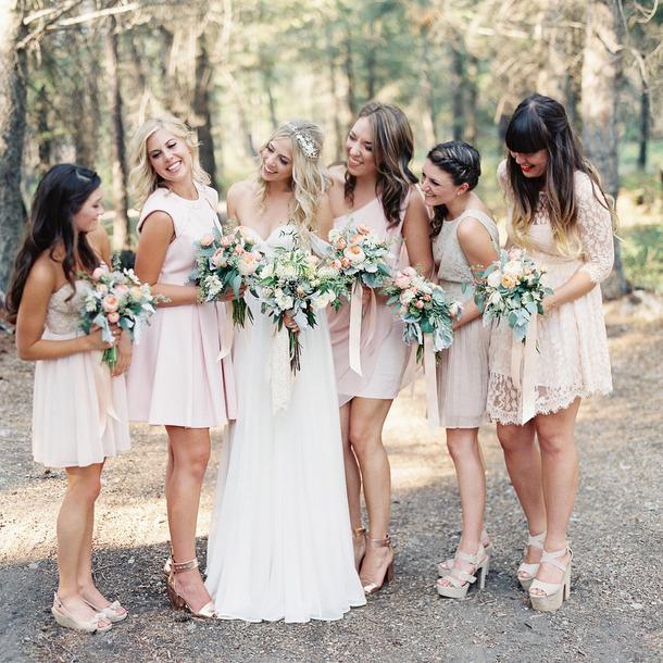 21 Wedding Dresses | Mismatched Blush Bridesmaid Dresses