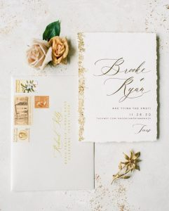 gold leafing wedding invitations and envelopes