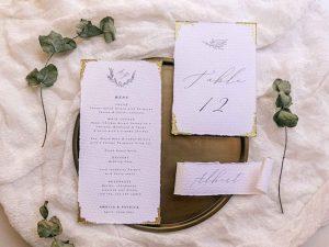 gold leaf wedding invitations
