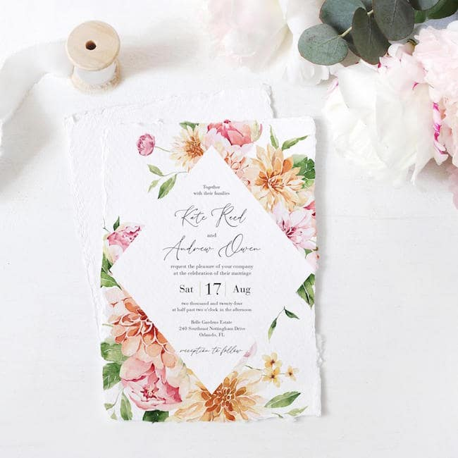 dahlia wedding invitations