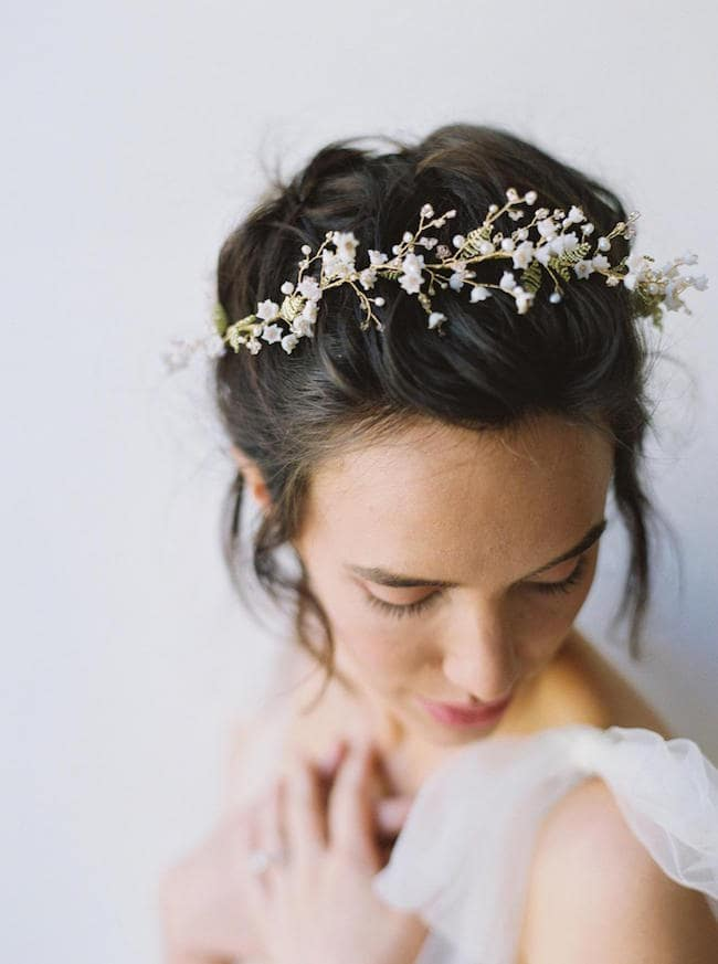 lily of the valley bridal hairpiece