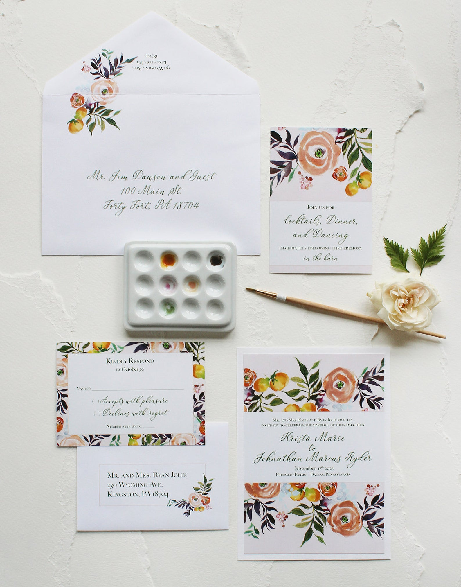 ranunculus wedding invitations