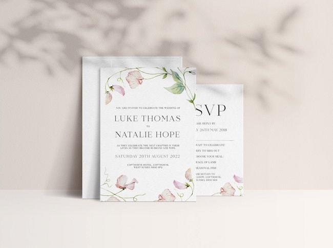 sweet pea wedding invitations