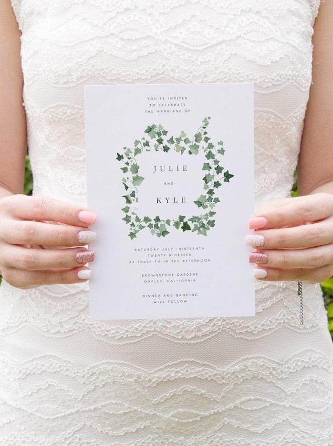 ivy wedding invitations