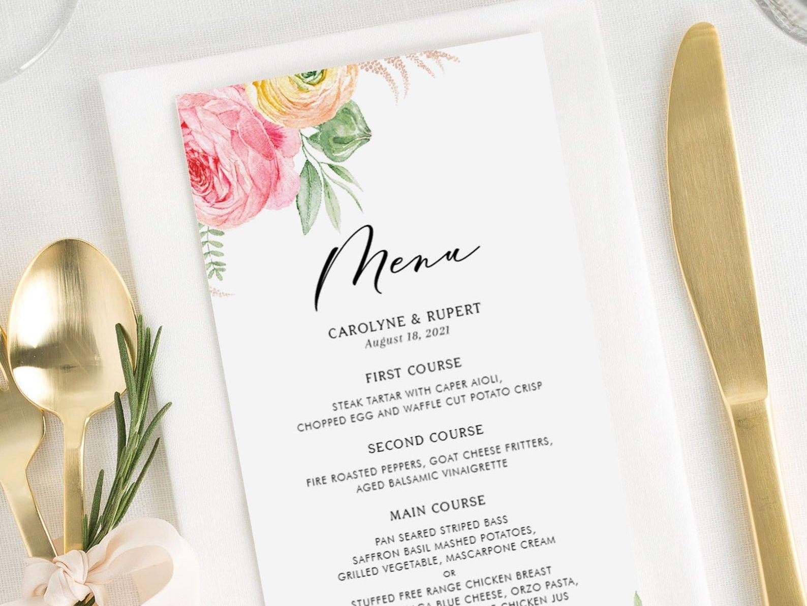 ranunculus wedding menu