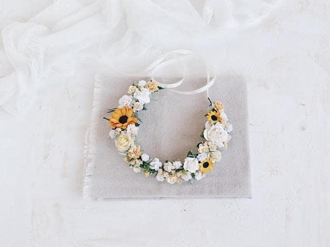 sunflower bridal hairpiece
