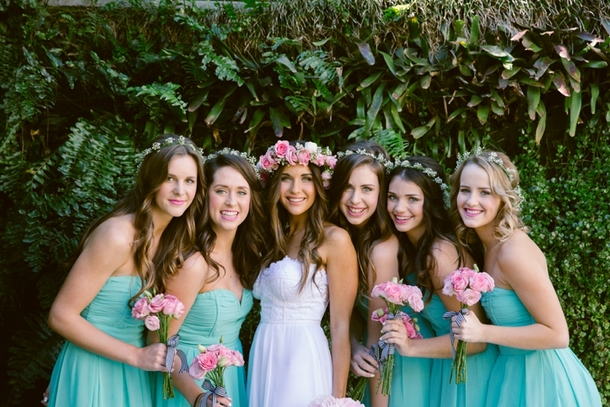 Bridesmaids in Simple Floral Crowns | Credit: Lad & Lass