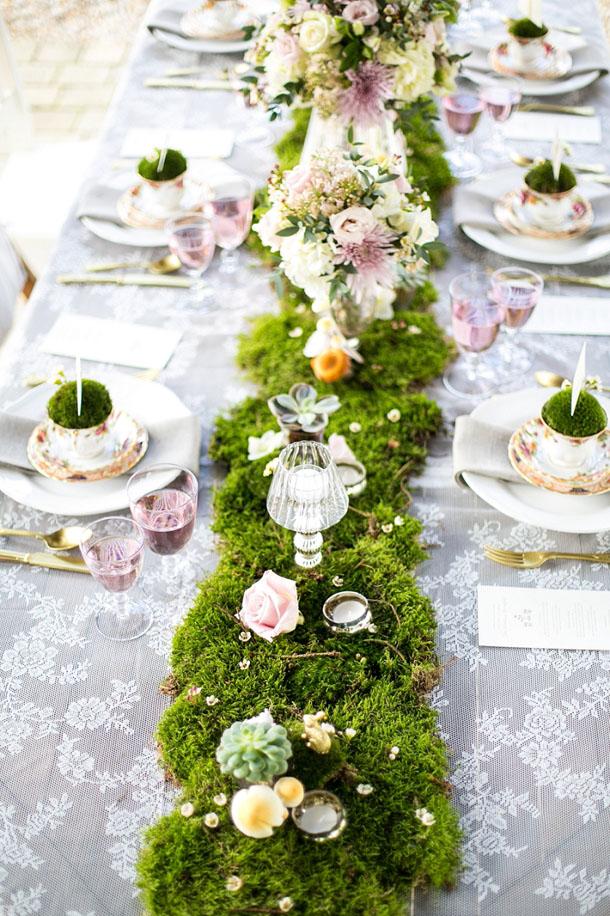 Moss wedding table runner | Credit: Anneli Marinovich