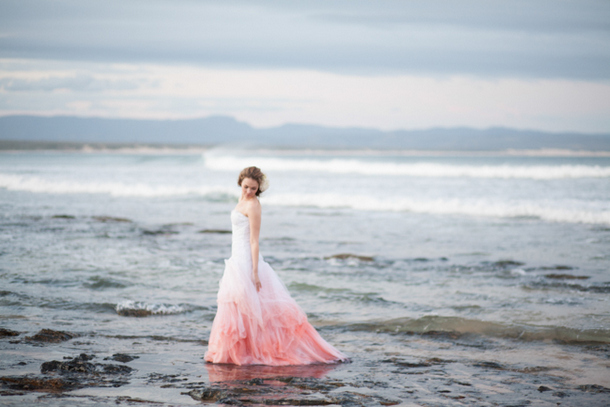 coral pink ombre wedding dress