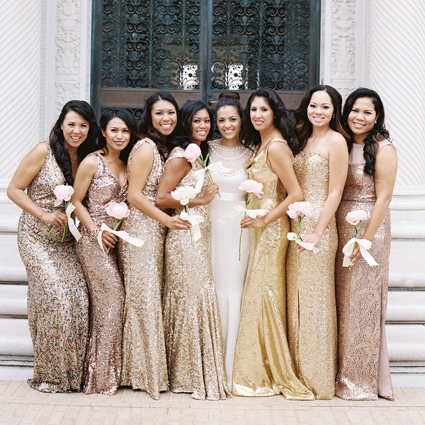 Get the Look: Sequin & Sparkle Bridesmaid Dresses | SouthBound Bride
