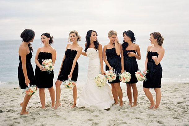 Short Black Bridesmaid Dresses Beach Wedding