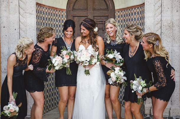 Short Black Bridesmaid Dresses Lace Sleeve
