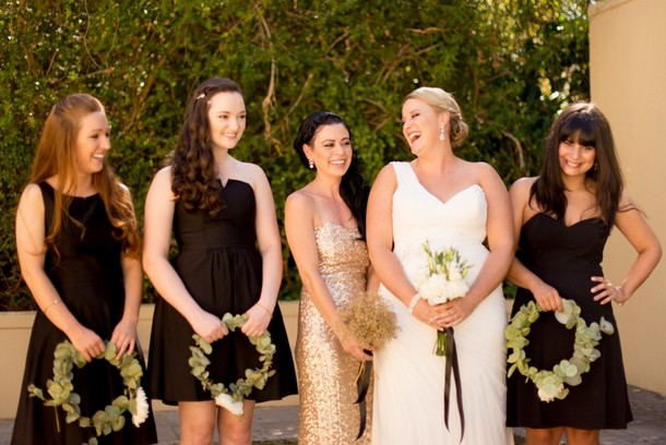 Short Black Bridesmaid Dresses Mismatched