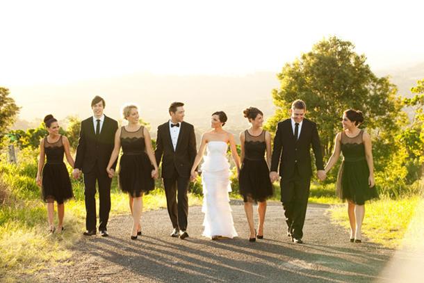 Short Black Bridesmaid Dresses Vineyard Wedding