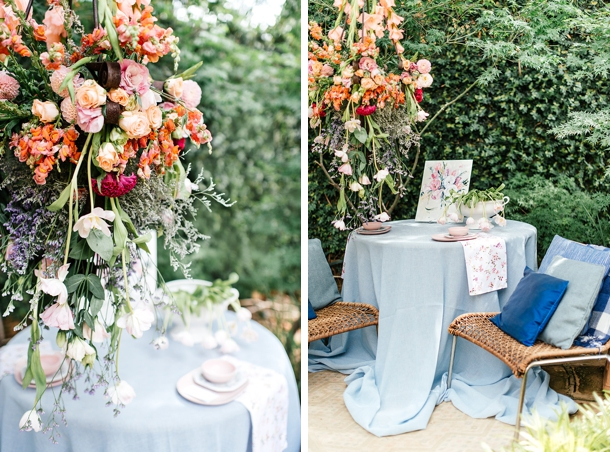 Hanging Florals and Watercolor Wedding Table | Credit: Leandri Kers