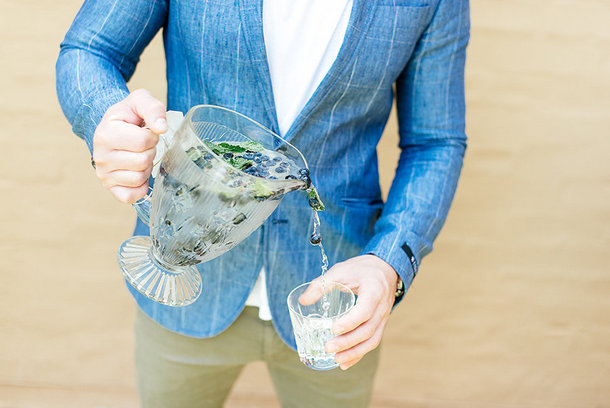 Groom in Denim Blazer with Blueberry Water | Credit: Leandri Kers | Featuring Miss Universe 2017 Demi-Leigh Nel-Peters