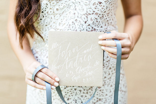 Calligraphy Wedding Invitation on Kraft Paper | Credit: Leandri Kers