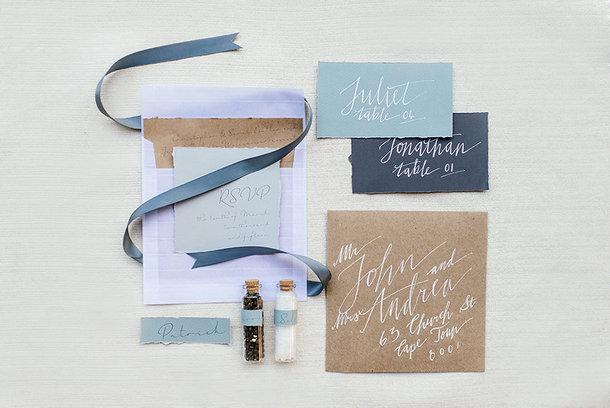 Calligraphy Invitation in Shades of Blue | Credit: Leandri Kers