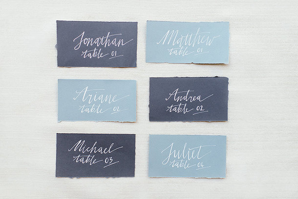 Blue Handwritten Calligraphy Escort Cards | Credit: Leandri Kers