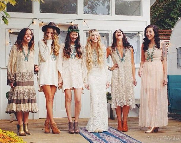 Mismatched Boho Bridesmaids Get Your Girls Rocking Some Kate Moss At Glastonbury Style Festival Chic Complete With Crochet And Vintage Touches