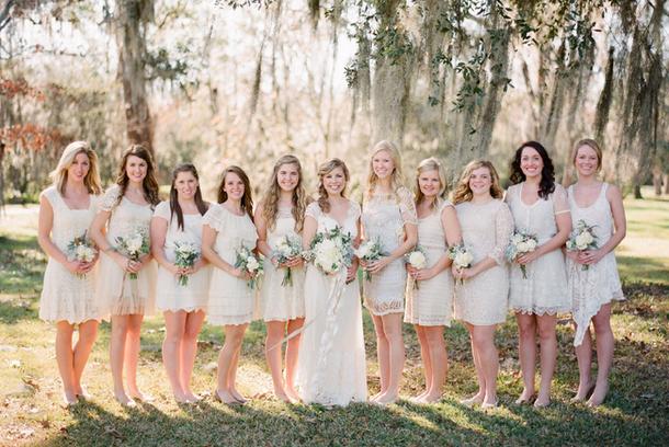 Mismatched Short Lace Boho Bridesmaid Dresses