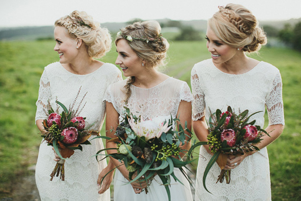 White Lace Bridesmaid Dresse