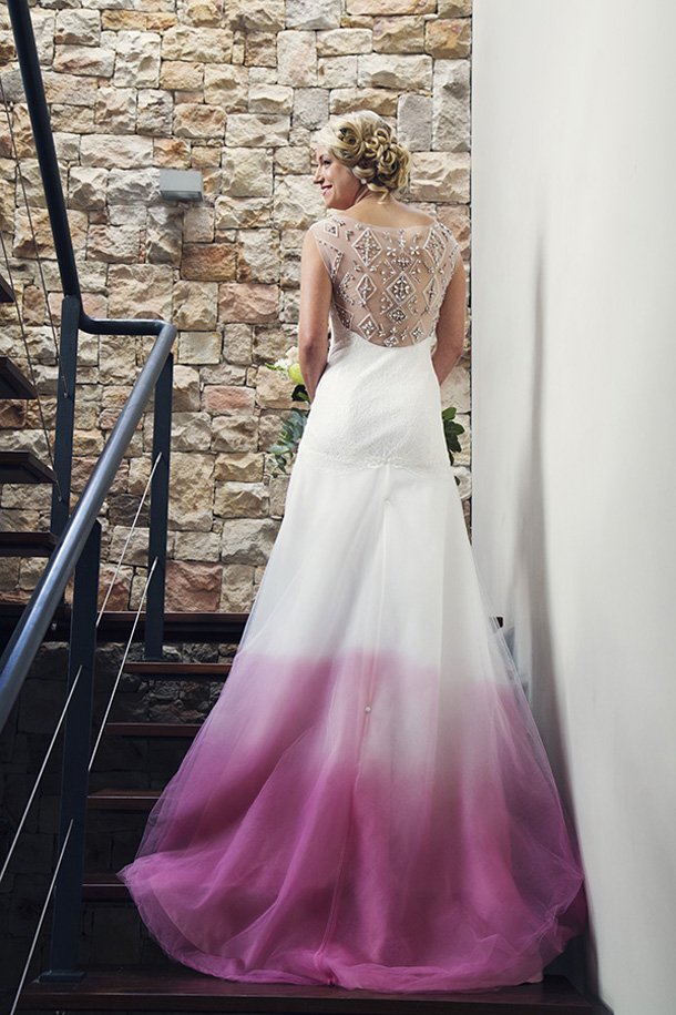 pink ombre wedding dress