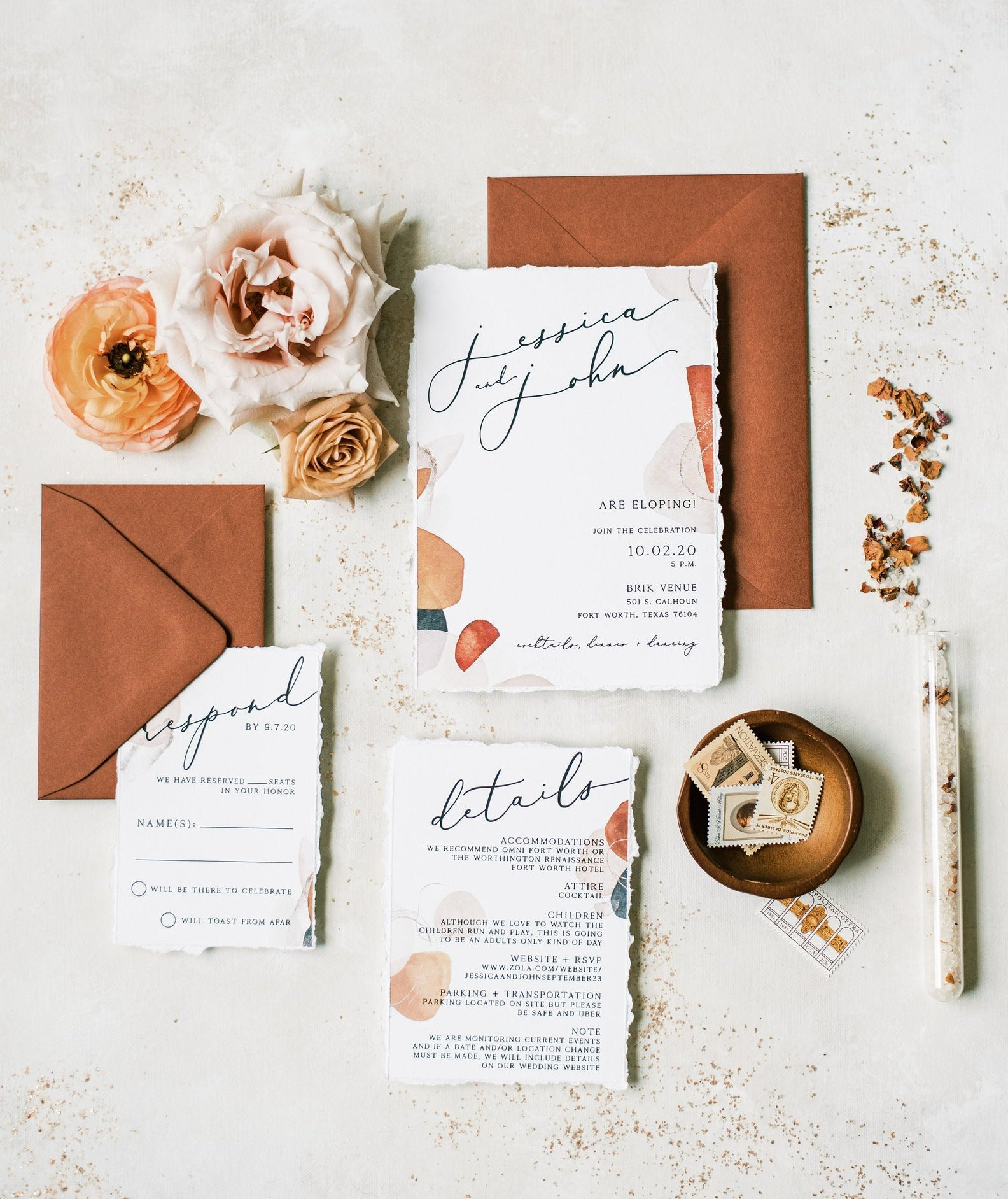 bohemian wedding invitation