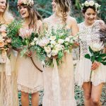 White Lace Boho Bridesmaid Dresses