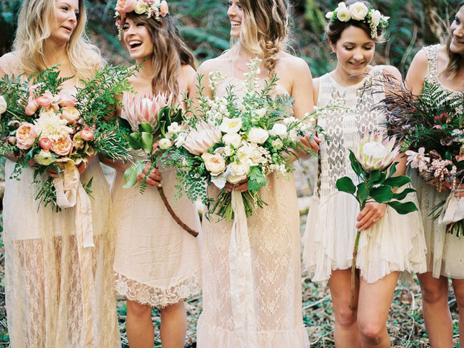Mismatched White Lace Boho Bridesmaid Dresses